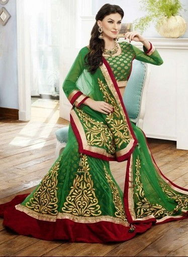 Buy online this Elegant Green Lehnga Choli with Zari, Stone, Patch Border   Bridal Lehengas   Scoop.it