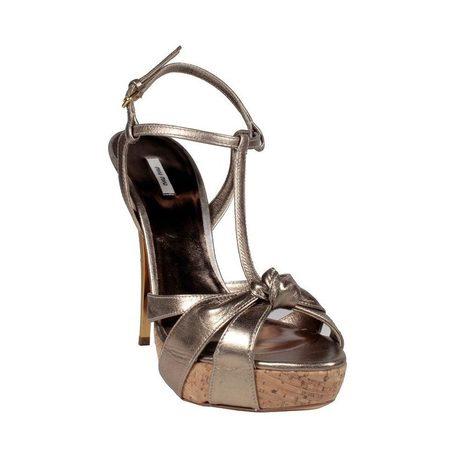 Miu Miu Womens Shoes High Heel Cork Metallic Copper Sandals | Designer Womens Shoes | Scoop.it