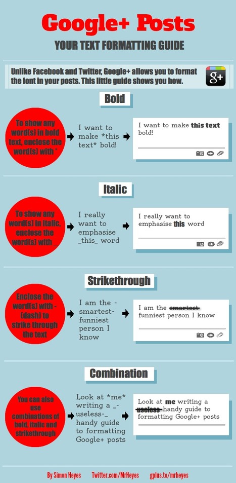 4 Tips To Creatively Style Your Google+ Posts [Infographic] | AtDotCom Social media | Scoop.it