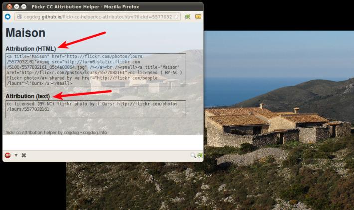 Pour créditer correctement les images libres de Flickr : CC attribution bookmarklet | TIC et TICE mais... en français | Scoop.it