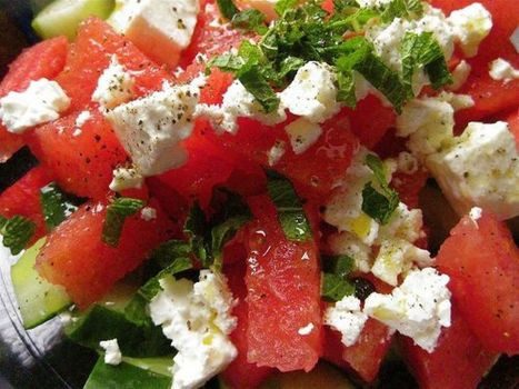 Watermelon Salad Recipe With Cucumbers, Mint and Feta Cheese - Huffington Post | Catering, Food Baskets, Delicatessan, Parties, Weddings | Scoop.it