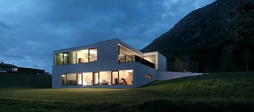 Maison contemporaine b ton int rieur bois germann house for Interieur yourte contemporaine