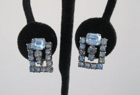 Blue Rhinestone Earrings Coro Vintage   Vintage jewerly   Scoop.it
