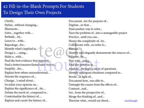 42 Fill-in-the-Blank Prompts For Students To Design Their Own Projects | Digital Learning Ideas | Scoop.it