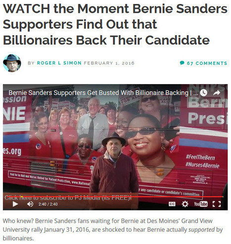 """Watch the Moment Bernie Sanders Supporters Find Out that Billionaires Back Their Candidate"" 