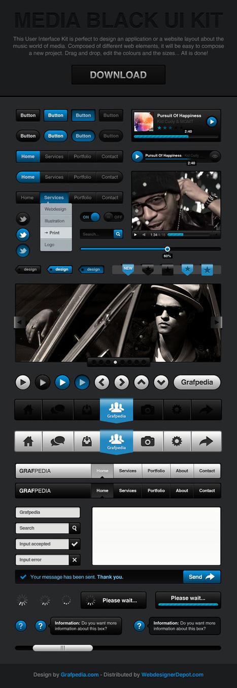 Free psd: Kit Utilisateur Multimédia Noir – Grafpedia | ressources PHOTOSHOP | Scoop.it
