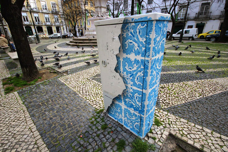 Ceramic Tile Illusion Painted on a Boring Electrical Box in Lisbon | The brain and illusions | Scoop.it