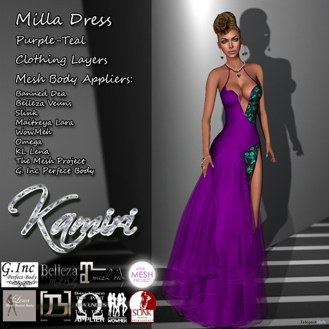 Milla Dress Purple Teal with Appliers Group Gift by Kamiri | Teleport Hub - Second Life Freebies | Second Life Freebies | Scoop.it