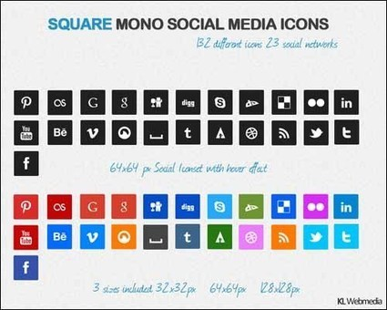 45+ Best of Social Media Buttons Icon Sets | Designrazzi | Premium WordPress Themes Download | Scoop.it