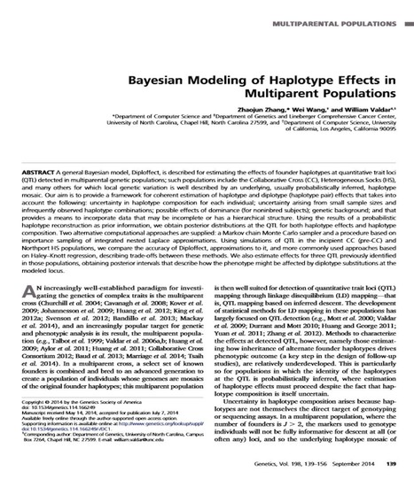 Bayesian Modeling of Haplotype Effects in Multiparent Populations | Plant multi-parent advanced generation intercross (MAGIC) populations | Scoop.it