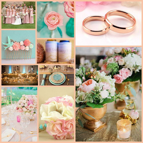 Wedding Colour Schemes and Ideas for your Custom Wedding Stubby Holders: Rose Gold, Soft Teal and Pink! | Weddings | Scoop.it