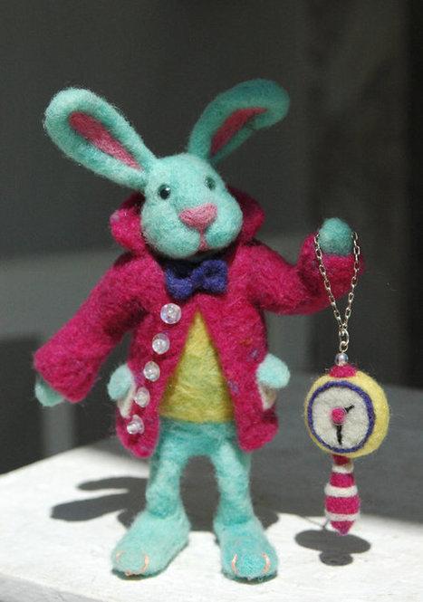 Mr Alice in Wonderland Needle felted Rabbit, Fairy tale Easter Bunny, Needle felted Animal Art doll, OOAK alice in wonderland collectible | Needle felting art by Green Dot Creations' Studio! | Scoop.it