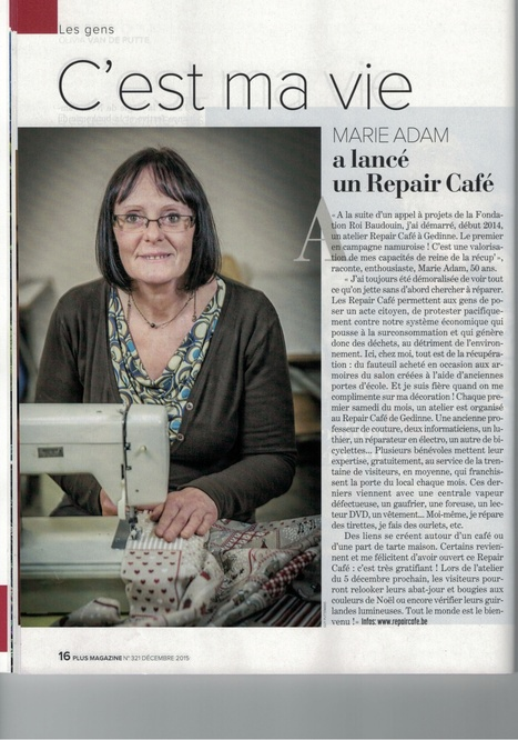 """Marie Adam a lancé un Repair Café"" (Plus Magazine - Déc 2015) 