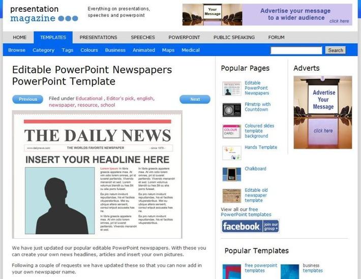 Gratis voor PowerPoint: Allerlei verschillende krantensjablonen | Edu-Curator | Scoop.it