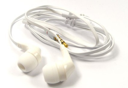 White Flat-Cable In-Ear Headphones with mic | Mobile Phone Accessories | Scoop.it