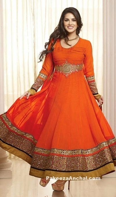 Sunny Leone in Orange Long Frock Indian Churidar Salwar Kameez with Full Sleeves | Indian Fashion Updates | Scoop.it