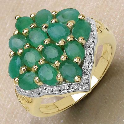 2.80CTW Genuine Emerald 14K Yellow Gold Plated .925 Sterling Silver Ring   Online Jewellery Shopping in India   Scoop.it