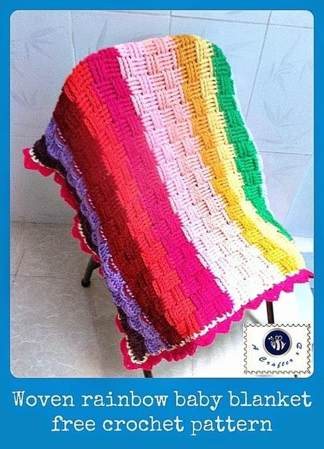 Woven rainbow baby blanket - free crochet patte... | Handicrafts | Scoop.it
