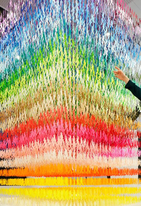 #Colourful #Cascade of 18,000 #Paper #Silhouettes in 100 Different #Colours. #installation #art | Luby Art | Scoop.it