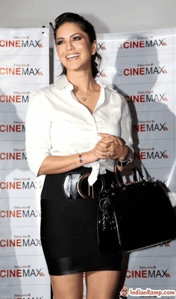Sunny Leone in White Shirt and Skirt Cinemax Pictures with Actor Dino Morea | Indian Fashion Updates | Scoop.it