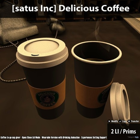 New Release: Delicious Coffee by [satus Inc] | Teleport Hub - Second Life Freebies | Second Life Freebies | Scoop.it
