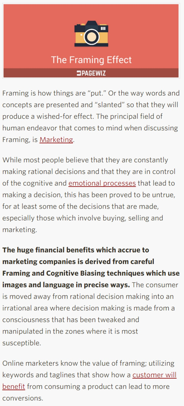 How to use The Framing Effect in Marketing Campaigns - Pagewiz | The Marketing Technology Alert | Scoop.it