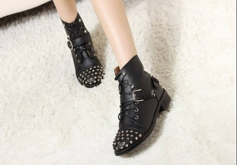 Wholesale Leather boots for women fashion stud abd buckle decorative shoes CZ-2555 black - Lovely Fashion | Chic summer streetstyle(sandals) | Scoop.it
