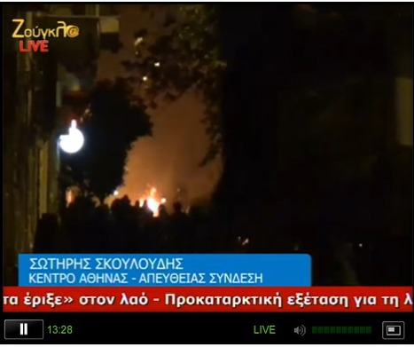Fires in street of Athens Greece protests marching for Alexis Grigoropoulos are confronted by Riot police w/Flash bangs/ tear Gas | Revolution News | Scoop.it