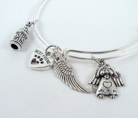 Silver Bangle Bracelet, Alex and Ani Inspired, Rememberance of Lost Pet, Dog Theme Free Shipping   Pet Bereavement   Scoop.it