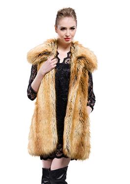 Yellowish faux wolf fur middle fur vest | Comfortable faux fur coat fashion | Scoop.it