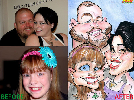 Our latest caricature Parents and Daughter Color Caricature | Custom Caricatures | Scoop.it