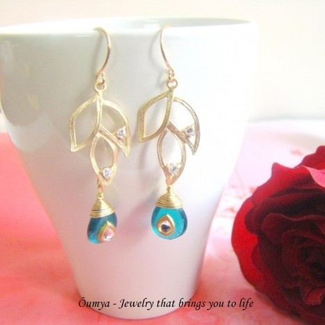 Teal Kundan Leafy earrings - Craftsia - Indian Handmade Products & Gifts | Indian Handmade Jewelry | Scoop.it