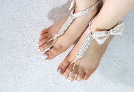 Lace sandals, beach shoes, bridal sandals, wedding bridal, barefoot sandles, Ivory accessories, wedding pearl sandles, Ivory Bow Sandles by EmofoFashion | women fashion | Scoop.it