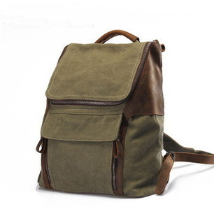 Durable mens trail backpack in tan leather and coanvas from Vintage rugged canvas bags | personalized canvas messenger bags and backpack | Scoop.it