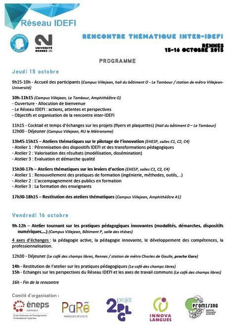 Rencontre thématique des projets IDEFI à Rennes, 15-16 octobre 2015 | IDEFI: Initiatives d'excellence en formations innovantes | Scoop.it