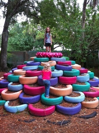 Tire pile playground in Sarasota children's garden | Mommy Inspiration | Scoop.it