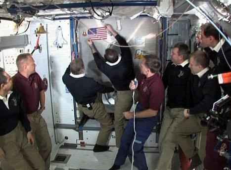 Astronauts Leave American Flag, Shuttle Model on Space Station in Tribute   Skylarkers   Scoop.it