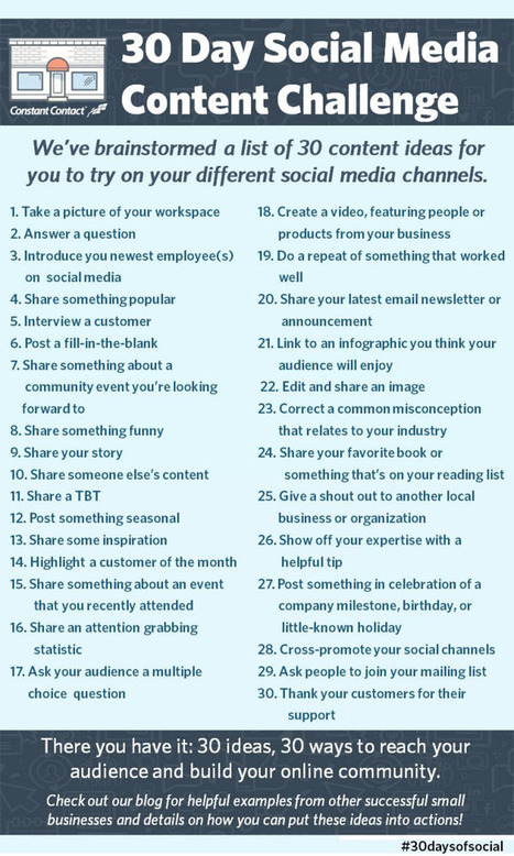 30 Day Social Media Content Challenge | Constant Contact Blogs | SM | Scoop.it