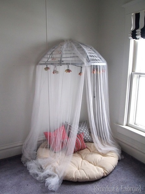 Papasan Chair into Reading Nook / Canopy! - Things Thrifty | Papasan chair | Scoop.it
