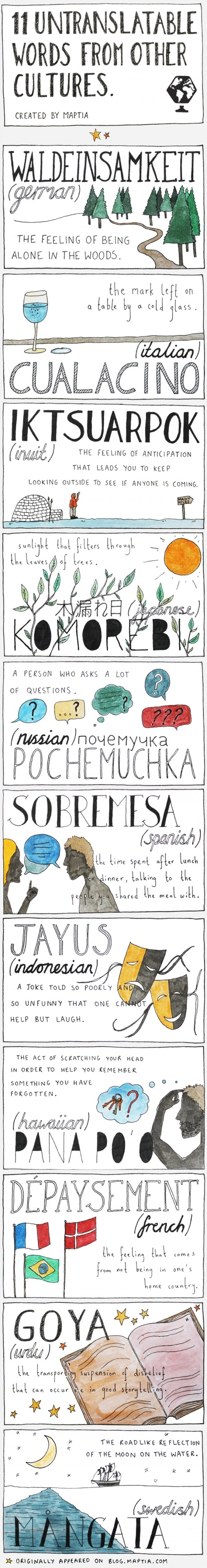 11 Untranslatable Words From Other Cultures | English Class | Scoop.it