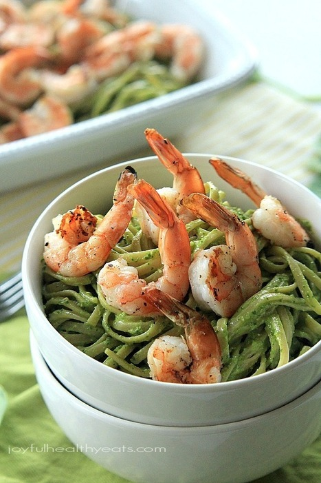 #HealthyRecipe : Goat Cheese Spinach Pesto Pasta with Grilled Shrimp | The Man With The Golden Tongs Goes All Out On Health | Scoop.it
