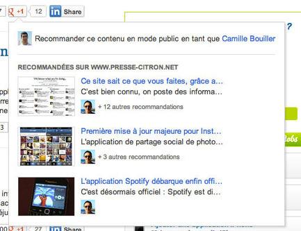 Le bouton Google +1 va recommander du contenu aux lecteurs de votre site au survol | Geeks | Scoop.it