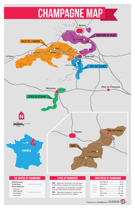 Champagne Map via Wine Folly | Intorno alle Bolle | Scoop.it