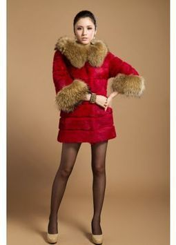 Women's Furs :: Fur Coats :: Rabbit :: Horizontal Rabbit Coat With Raccoon Fur Trim Hood & Cuffs - | furs | Scoop.it