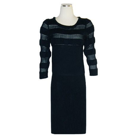 ZAC POSEN Navy Mesh Cashmere Sweater Dress | Consignment | Scoop.it