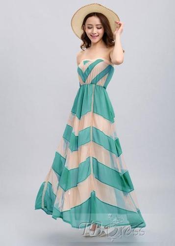 Sexy Double-Deck Strapless Flowing Chiffon Maxi Dress   women fashion&clothing   Scoop.it