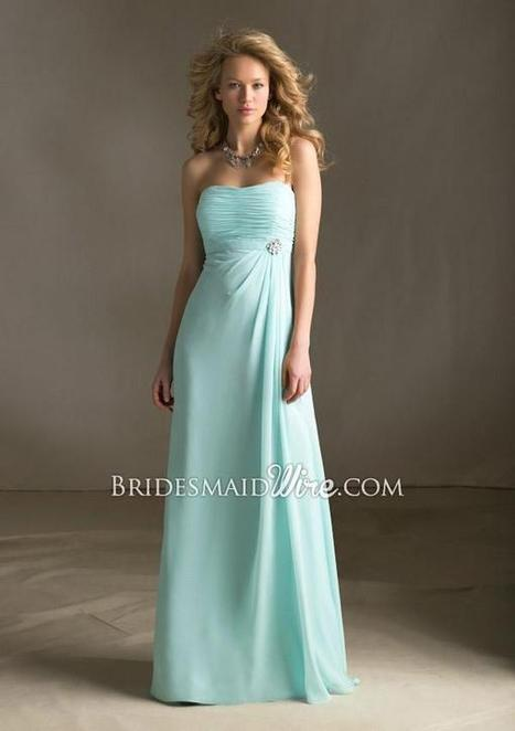Chiffon Light Blue Strapless Floor Length A-line Long Ruched Bodice Bridesmaid Dress | Woman Wedding Dresses | Scoop.it