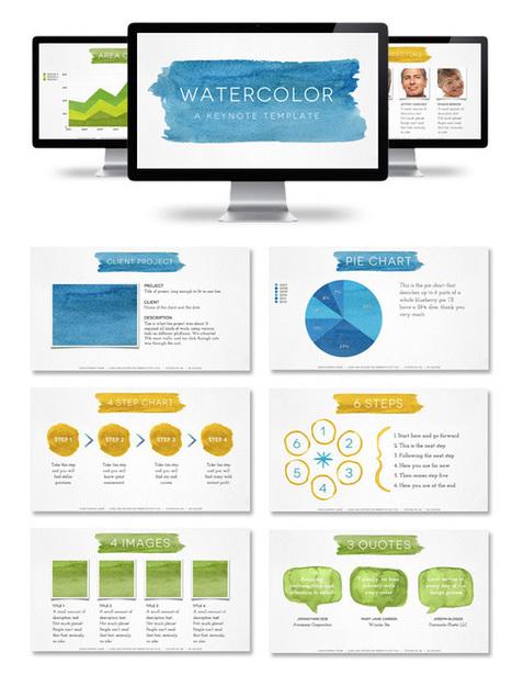 Watercolor Presentation Template - PowerPoint & Keynote - Creattica | Slide Ideas | Scoop.it