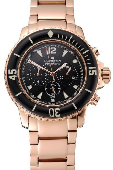 Fake Blancpain Fifty Fathoms Flyback Chronograph Black Dial Rose Gold Case And Bracelet | Men's & Women's Replica Watches Collection Online | Scoop.it
