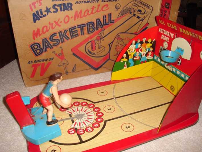 1950's Marx O Matic Basketball tin and plastic vintage game with ball and original box | Antiques & Vintage Collectibles | Scoop.it